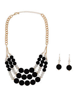 Beaded Statement Necklace with Drop Earrings - 3123072428559