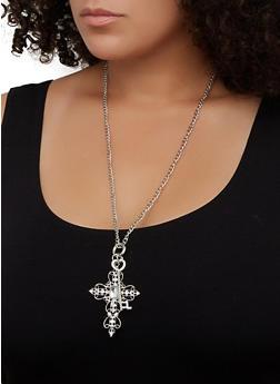 Rhinestone Cross Key Charm Necklace - 3123072690047