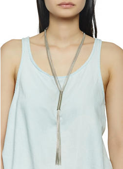 Coil Tassel Necklace and Stud Earrings - 3123072690383