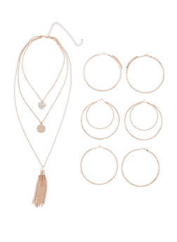 Layered Charm Necklace with Large Hoop Earring Trio - 3123072690522