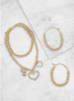 Set of 2 Heart Charm Necklaces with Earrings and Bracelets - 3123072692158