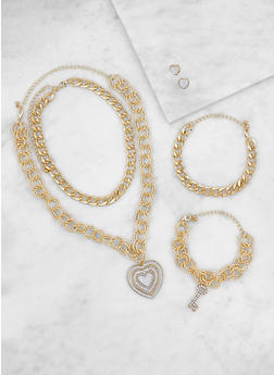 Assorted Chain Necklaces with Bracelets and Earrings - 3123072692160