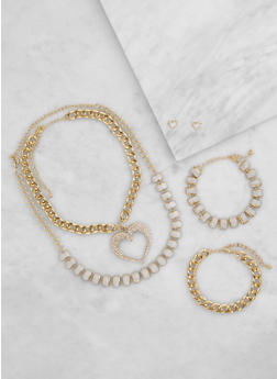 Glitter Chain Necklaces with Bracelets and Stud Earrings - 3123072692163