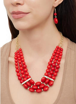Beaded Necklace with Stretch Bracelets and Drop Earrings - 3123072692166