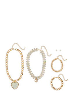 Glitter Chain Necklaces with Bracelets and Stud Earrings - 3123072692214