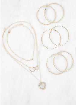 Charm Necklaces and Hoop Earrings Set - 3123072692748