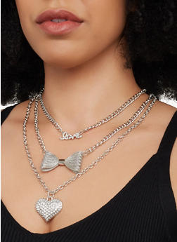 Mesh Bow Charm Layered Necklace with Stud Earrings - 3123072693276