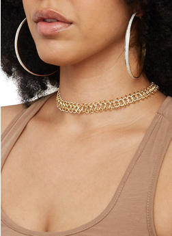 Set of 3 Choker Necklaces with Hoop Earrings - 3123072693425