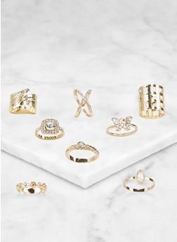 Metallic Rhinestone Rings - 3123072694368