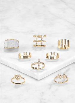 Set of 8 Assorted Rhinestone Cross Rings - 3123072694371