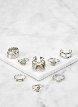 Set of 8 Assorted Metallic Rings - 3123072694372