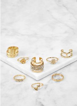 Set of 8 Assorted Metallic Rings - 3123072694372