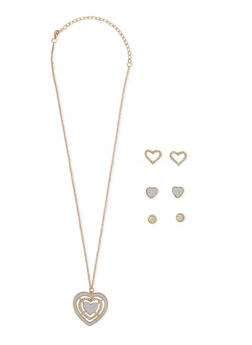 Glitter Heart Necklace and Stud Earrings - 3123072694421