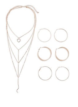 Layered Charm Necklace with Hoop Earrings Trio - 3123072694482