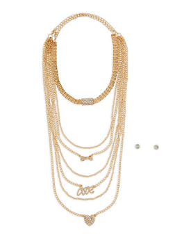 Charm Necklace Duo with Stud Earrings - 3123072694742