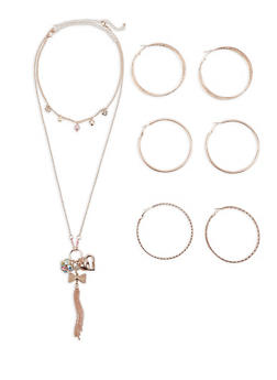 Charm Necklaces with Hoop Earrings Set - 3123072694784