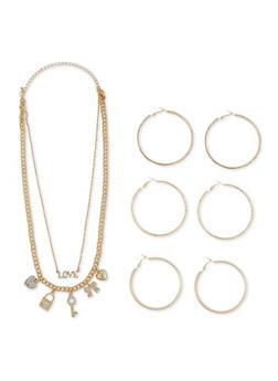 Rhinestone Charm Necklace with Hoop Earrings - 3123072694876