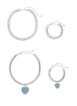 Heart Pendant Chain Necklace and Bracelet Set - 3123072694922