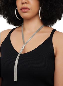 Metallic Mesh Tassel Necklace with Hoop Earrings - 3123072695236