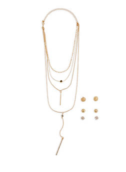 Rhinestone Stick Charm Necklace with Stud Earrings Trio - 3123072695917