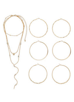 Layered Necklace with Hoop Earring Trio - 3123072695919