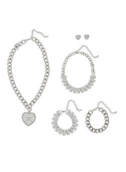 Heart Charm Necklace with Bracelet Trio and Earrings - 3123072695958