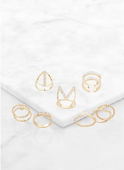 Glitter Metallic Statement Rings - 3123072696014