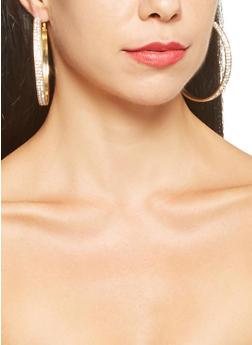 Mesh Tassel Necklace and Hoop Earrings Set - 3123072696325