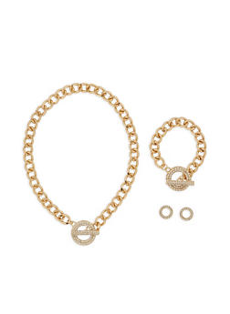 Toggle Chain Necklace with Bracelet and Stud Earrings - 3123072696378