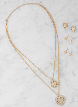 Heart Layered Necklace with Stud Earrings - 3123072696472