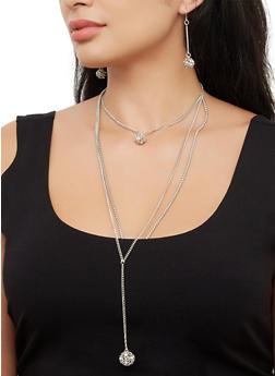 Layered Choker with Rhinestone Drop Earrings - 3123072696489