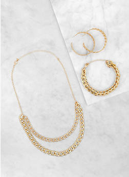 Chain Necklace with Bracelet and Hoop Earrings - 3123072696726