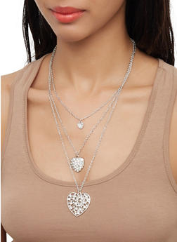 Layered Rhinestone Heart Necklace with Hoop Earrings - 3123072696748