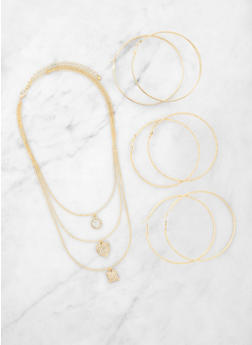 Charm Layered Necklace and Hoop Earrings - 3123072696767