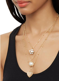 Faux Pearl Rhinestone Charm Necklace and Earrings - 3123072696772