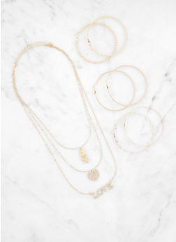 Layered Charm Necklace and Trio of Hoop Earrings - 3123072696983