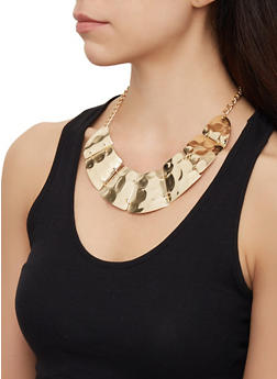 Hammered Metallic Collar Necklace and Stud Earrings Set - 3123072697049