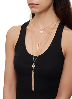 Layered Tassel Necklace and Hoop Earring Trio - 3123072697050