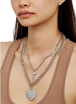 Layered Heart Curb Chain Necklace with Stud Earrings - 3123072697051
