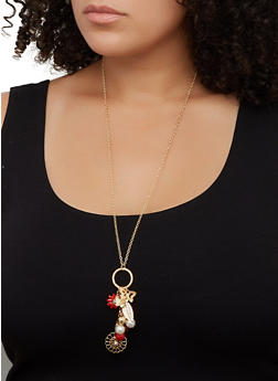 Flower Cluster Charm Necklace and Stud Earring Trio - 3123072697053