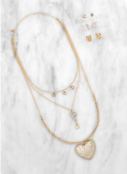 Rhinestone Key Heart Necklace with Stud Earrings - 3123072697097