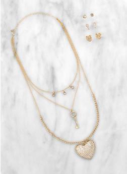 Rhinestone Key Heart Necklace with Stud Earrings - 3123072697097