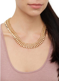 Chain Collar Necklace with Bracelet and Hoop Earrings - 3123072697527