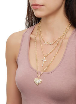 Layered Cross Charm Necklace with Stud Earring Trio - 3123072697557