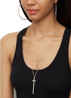 Rhinestone Cross Necklace with Hoop Earrings - 3123072697588