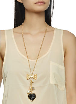 Charm Necklace and Stud Earrings Set - 3123072697734