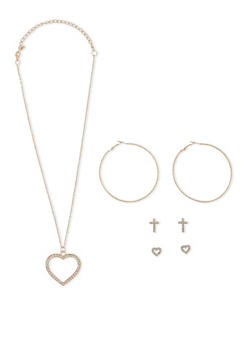 Heart Charm Necklace with Stud and Hoop Earrings Set - 3123072698734