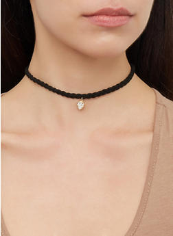 Set of 5 Assorted Love Metallic Chokers - 3123072698948