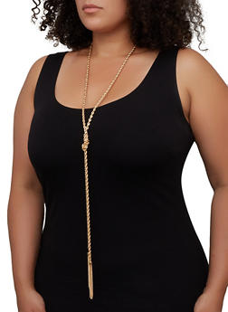 Metallic Tassel Drop Necklace and Earrings Set - 3123072699004