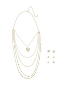 Layered Charm Necklace with Earring Trio - 3123073840622